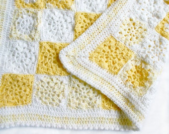 Yellow Crochet Blanket- Baby Blanket- Hand Crocheted- Nursery Decor- Boy or Girl- Made To Order