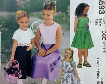 McCall's Fashion for Children Girls flower girl bridal easter dress #3593 Sewing Pattern UC FF size 3-4-5-6