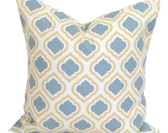 PILLOWS, Pillow Cover, Decorative Pillow, Throw Pillow, Slate Blue Pillows, Accent Pillow, Yellow Pillow Covers, All Sizes, Euro, Cushion
