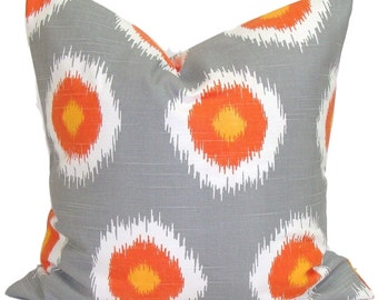FALL PILLOWS.18x18 inch.Fall Cushion Covers, Fall Cushions, Fall Cushion Covers, Orange and Gray Pillows, Orange and Gray Cushions, Ikat