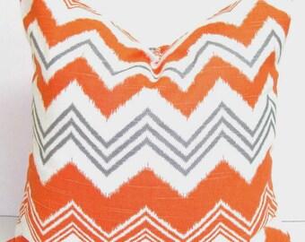 OUTDOOR Pillow Sale.Chevron.16x16 inch.Decorative Pillow Cover.Housewares.Home Decor. Orange Gray Zig Zag.Orange Chevron..Indoor.Outdoor