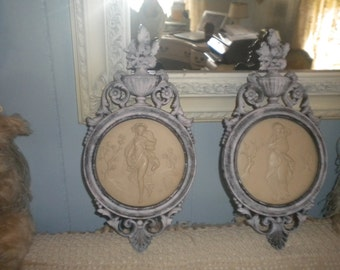 Set of 2 Vintage Dart Wall Display, Victorian, French, French Country