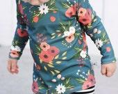 ORGANIC Cotton Knit Baby Toddler Blue Flower Floral Long Sleeved Shirt T-Shirt Top