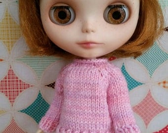 Blythe Sweater - 100% wool pink sweater for Blythe