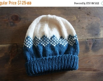 ON SALE Vintage handknit fair isle hat /  wool baby hat / teal and oatmeal knit toque 6 to 12 months