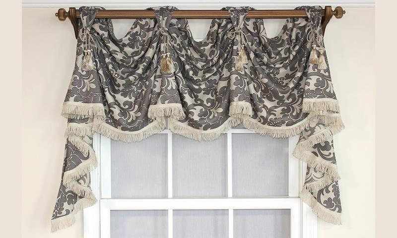 Damask Victory Swag Valance In Gray Or Spa With Optional
