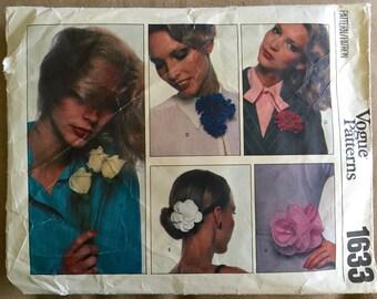 1970's Vogue Craft Flower, Dogwood, Rose, Carnation Pattern - no. 1633