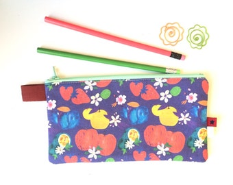 Fruits & Blossoms Divided Pencil Case (handmade philosophy's pattern)