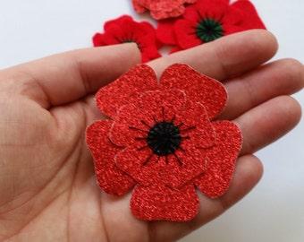 Poppy Glitter Brooch Felt, Christmas Felt Brooch, Remembrance Day Poppy Appeal Charity Brooch