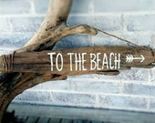 Lets Go TO THE BEACH Hand-Painted Driftwood Sign.