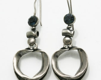 Vintage 925 Sterling Silver Modernist Circle Drop Earrings Blue Stone Estate