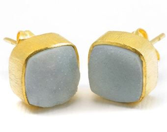 Grey Drusy Earrings Gold Post Studs Earrings Bezel Set Teardrop Shape Brushed Gold Finish Classic Simple Daily Wear