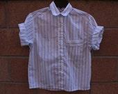 Blue pin stripe shirt button up short sleeve breast pocket