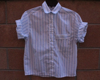 Blie pin stripe shirt button up short sleeve breast pocket