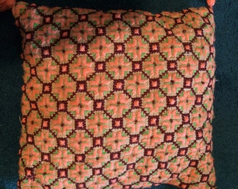 Vintage Glam Late 1960s Embroidery Pillow