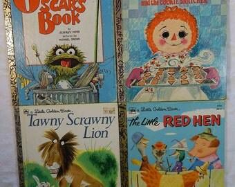 Vintage Little Golden Books Lot, Tawny Scrawny Lion, Raggedy Ann, Oscar, Little Red Hen