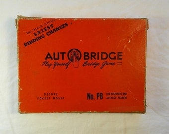 Vintage Autobridge Play Yourself Bridge Game, Deluxe Pocket Model, 1959, Alfred Sheinwold, Auto Bridge, Red and Black