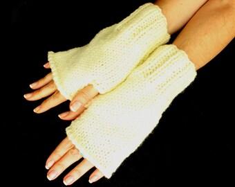 Personalized Cream Knitting fingerless gloves, Boho knit glove mittens, Knit gloves mittens, Xmas gift