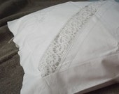 Lovely Vintage Handmade White Cotton Pillow Case  with Hand Crochet Lace and White Embroidery.  Swedish Vintage Pillowcase..