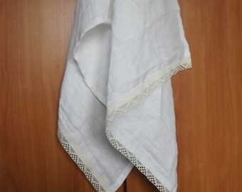 White Soft Linen Waffle Structured Sauna Bathroom Towel with Lovely Handmade Ecru Lace.