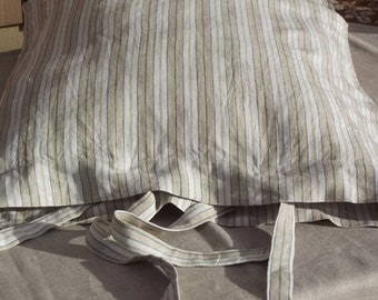 Lovely Stripes Linen Pillow Case with Ties. Swedish Vintage Fabric. Beige and white stripes. Striped pillowcase.