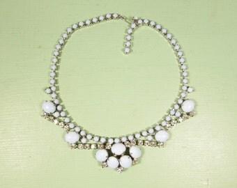 Powder Blue Rhinestone Necklace - Vintage Signed Gale Silver Tone Adjustable