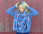 Large Blanket Scarf: Chambray Plaid Flannel