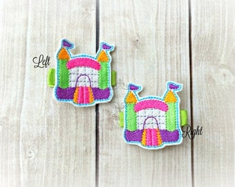 Bounce house Hair clip Jump Castle Embroidered Felt Hair Clips Pick one or two. Pick Left side or Right.