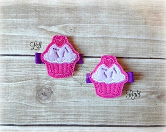 Cupcake Hair Clip Valentines Hair Clippie Birthday Hair Clip Cuppie Cake Hair clip Pick one or two. Pick Left side or Right.