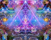 GATES OF ATLANTIS - Tapestry, Wall Hanging - Original Spiritual Art, Visionary, Psychedelic, Shamanic, Sacred Geometry, Entheogenic Art