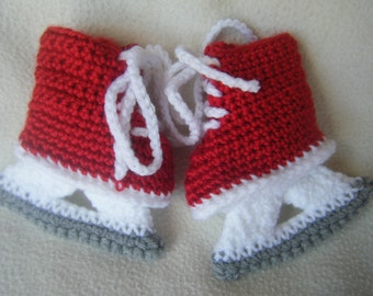 Crocheted Baby Girl Ice Skates/Hockey Skates, Christmas Booties Skates - Made to Order