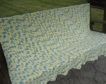 Handmade Crochet Blanket - Gender Neutral XL Size - American Folk Art Afghan Blanket Throw - American Made in USA