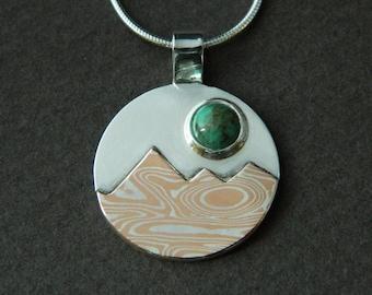 Mixed metal jewelry- mountain landscape jewelry mokume gane mountain and turquoise sun pendant