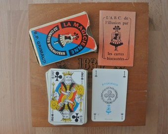 Vintage La Magicienne Jeu de 32 Carte Playing Cards, French Magic Card Game Made in France Grimaud
