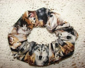 Wolf Fabric Hair Scrunchie, womans scrunchies, wild wolves, women's accessories, wolf lover gift, canine animal, grey red wolves, girls ties