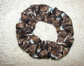 Nature Rocky Hill Snow Fabric Handmade Hair Scrunchie, womans scrunchies, outdoors fall forest, women's accessories, gifts for her, gift