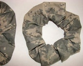 Grey digital Camo thin Fabric Hair Scrunchie, women's accessories, womans scrunchie. camoflauge scrunchy, hunter gifts, gifts for her