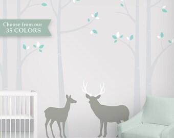Woodland Nursery Wall Decal - Deer Buck Birch Tree Wall Decal Set with 5 Birch Trees
