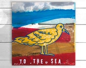 Original acrylic and photographic transfer, wall art - To The Sea by Suzielou, beach art, mixed media, seagull, gift for a friend, xmas gift
