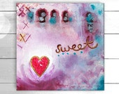 An original acrylic and mixed media painting entitled 'Sweetheart' / Wall Art by suzielou, gift for a friend, small xmas gift, canvas art