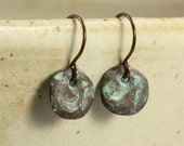 Small Greek Antique Copper Disc Earrings, Drop Earrings, Dangle Earrings, Copper Earrings