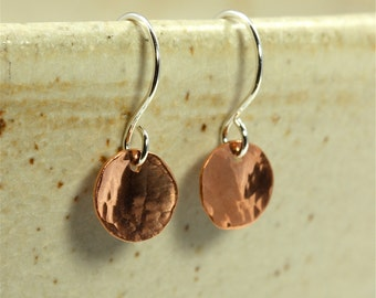 Small Hammered Copper Disc Earrings, Drop Earrings, Copper Earrings, Hammered Copper Earrings, Southwestern Earrings, Hammered Earrings