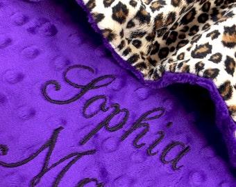 Lovey Size Pet Blanket Leopard with Purple Minky Back Personalization included, Leopard Dog Blanket, Leopard Pet Blanket, Leopard Cat Blankt