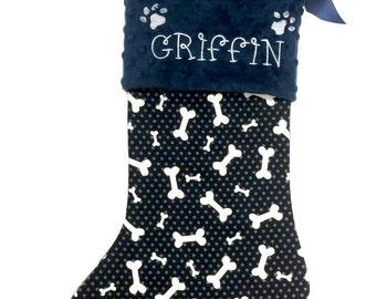 Dog Christmas Stocking, Navy Dog bone Christmas Stocking, Personalzied Pet Christmas Stocking, Dog Bone Christmas Pet Stocking
