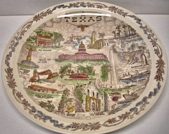 "Vintage Vernon Kilns Souvenir Plate Texas Plate 10"" Texas plate"