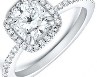 GIA Certified Cushion Diamond Halo Style Engagement Ring 2.05ct 18k White Gold