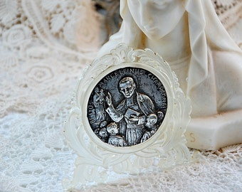 Vintage French, religious plaque, silver medal, ornate frame, religious gift, Saint Marcellin, French saint medal, religious ornament