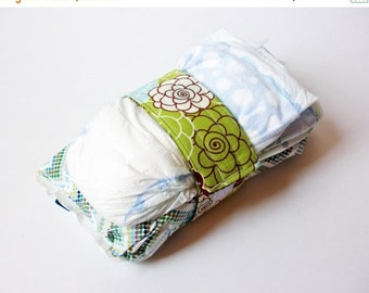 Clearance Lime Green Diaper Strap - Lime Green, Brown and Light Blue Flower Blossom