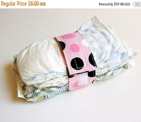 Clearance Polka Dot Diaper Strap - Pink, Black and White Polka Dots