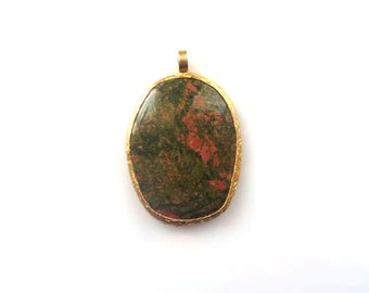 Gold Edged Green And Burgundy Agate Pendant